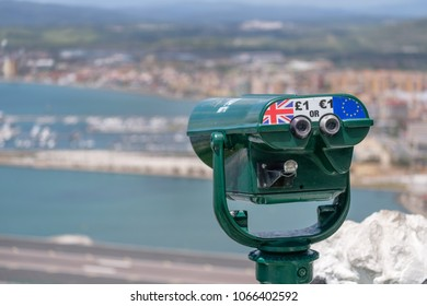 GIBRALTAR, SPAIN: 12-MAY 2017: Telescope at a viewing spot on the Rock of Gibraltar in May 2017.