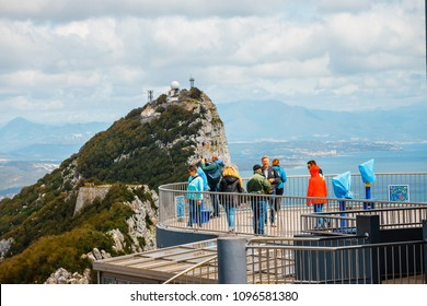 Gibraltar, Spain, April 07, 2018: Tourists visit viewpoint at cable car upper station in Gibraltar