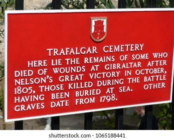 Gibraltar, Spain / Spain - March 2018: Trafalgar cemetery sign