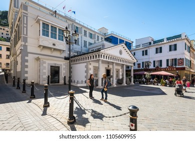 Gibraltar, UK - May 18, 2017: Convent Guard House, building of H.M. Government of Gibraltar and Supreme Court of Gibraltar.