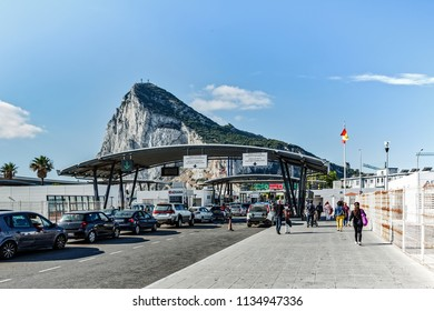 GIBRALTAR, UNITED KINGDOM - 08 JUNE, 2018. View at customs infrastructure at Spanish side in La Linea town. Rock of Gibraltar at background - British oversee territory