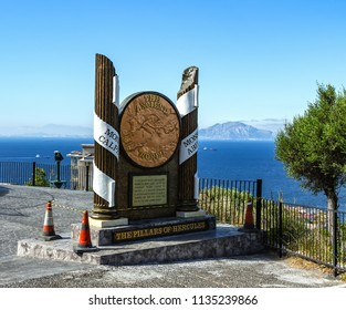 GIBRALTAR, UNITED KINGDOM - 08 JUNE, 2018. The Pillars of Hercules Monument in Gibraltar, a British Overseas Territory