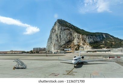 GIBRALTAR, UNITED KINGDOM - 08 JUNE, 2018. Airport, is one of the few airports in the world where the road runs through the airstrip.