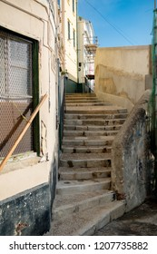 Gibraltar, United Kingdom, 1st October 2018:- Back alley ways in the old town of Gibraltar, off the normal tourist trail. Gibraltar is a British Overseas Territory.