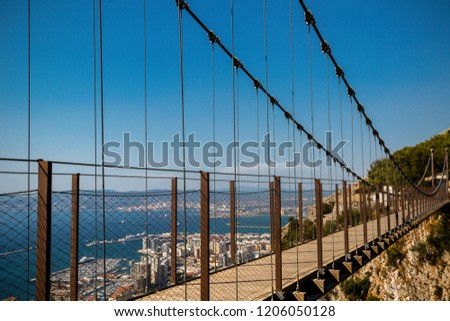 Gibraltar, United Kingdom, 1st October 2018:- The Windsor Suspension bridge on the Rock of Gibraltar. Gibraltar is a British Overseas Territory located on the southern tip of Spain.