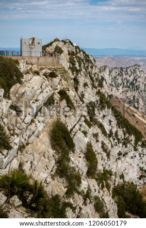 Gibraltar, United Kingdom, 1st October 2018:- Lord Airey's Battery at the summit of the Rock of Gibraltar. Gibraltar is a British Overseas Territory located on the southern tip of Spain.
