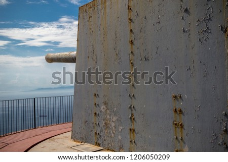 Gibraltar, United Kingdom, 1st October 2018:- O'Hara Battery at the summit of the Rock of Gibraltar. Gibraltar is a British Overseas Territory located on the southern tip of Spain.