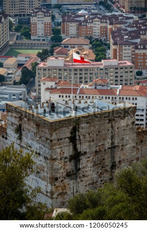 Gibraltar, United Kingdom, 1st October 2018:- The Moorish castle in Gibraltar. Gibraltar is a British Overseas Territory located on the southern tip of Spain