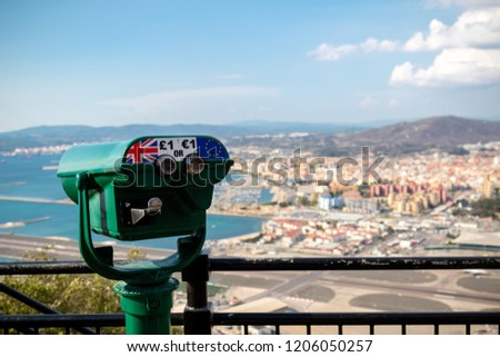 Gibraltar, United Kingdom, 1st October 2018:- View from the top of the Rock  into Spain, with a coin operated telescope. Gibraltar is a British Overseas Territory located on the southern tip of Spain.