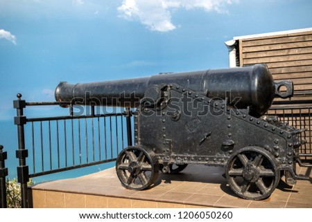 Gibraltar, United Kingdom, 1st October 2018:- Canons on the Rock of Gibraltar. Gibraltar is a British Overseas Territory located on the southern tip of Spain.
