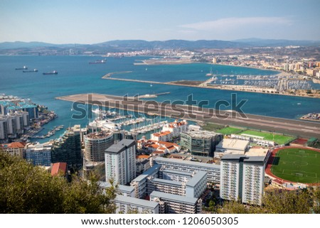 Gibraltar, United Kingdom, 1st October 2018:- View from the top of the Rock of Gibraltar looking North into Spain. Gibraltar is a British Overseas Territory located on the southern tip of Spain.