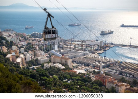 Gibraltar, United Kingdom, 1st October 2018:- The Gibraltar Cable car, carries visitors to the summit of the Rock from the town below. Gibraltar is a British Overseas Territory.
