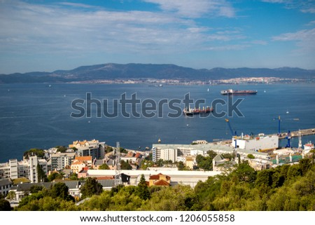Gibraltar, United Kingdom, 1st October 2018:- View of Gibraltar harbour and town from up the Rock. Gibraltar is a British Overseas Territory located on the southern tip of Spain.