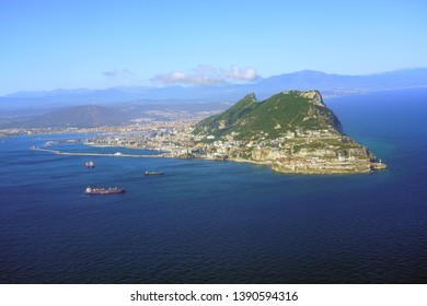 GIBRALTAR, UNITED KINGDOM -27 APR 2019- Aerial view of the Rock of Gibraltar, a British Overseas Territory on the South coast of Spain where the Mediterranean Sea meets the Atlantic Ocean.