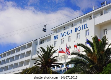 GIBRALTAR, UNITED KINGDOM -27 APR 2019- View of the Rock Hotel, a landmark historic Art Deco hotel with a panoramic view of the Strait of Gibraltar.