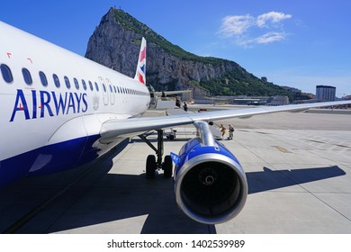 GIBRALTAR, UNITED KINGDOM -29 APR 2019- View of an airplane from British Airways (BA) at the Gibraltar International Airport (GIB) or North Front Airport in the British Overseas Territory of Gibraltar