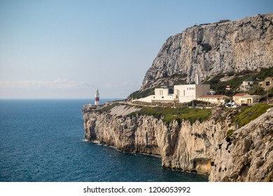 Gibraltar, United Kingdom, 2nd October 2018:-Gibraltar crematorium with Europa Point lighthouse in the background, Europa Point, Gibraltar. Gibraltar is a British Overseas Territory.