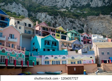 Gibraltar, United Kingdom, 2nd October 2018:- Colourful buildings along the seafront in Catalan Bay, Gibraltar. Gibraltar is a British Overseas Territory located on the southern tip of Spain.