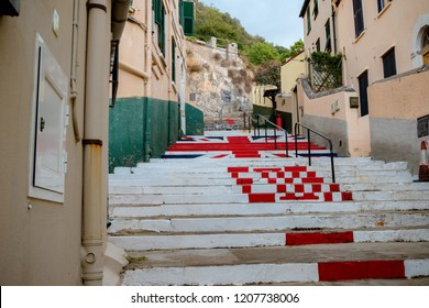 Gibraltar, United Kingdom, 2nd October 2018:- Steps painted with the British flag in Gibraltar and marked ER for Queen Elizabeth. Gibraltar is a British Overseas Territory.
