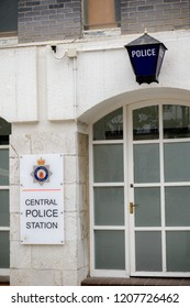 Gibraltar, United Kingdom, 30th September 2018:-The Central Police Station in Casemates Square, Gibraltar.Gibraltar is a British Overseas Territory located on the southern tip of Spain.