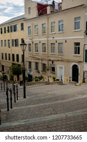 Gibraltar, United Kingdom, 30th September 2018:- Back streets area of the old town of Gibraltar, off the normal tourist trail. Gibraltar is a British Overseas Territory.