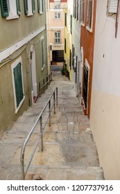 Gibraltar, United Kingdom, 30th September 2018:- Back alley ways in the old town of Gibraltar, off the normal tourist trail. Gibraltar is a British Overseas Territory.