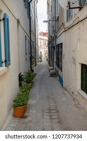 Gibraltar, United Kingdom, 30th September 2018:-Back alley ways in the old town of Gibraltar, off the normal tourist trail. Gibraltar is a British Overseas Territory.