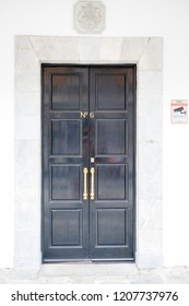 Gibraltar, United Kingdom, 30th September 2018:- 6 Convent Place front door, also known as number 6 is the headquarters of the Gibraltar Government. Gibraltar is a British Overseas Territory.