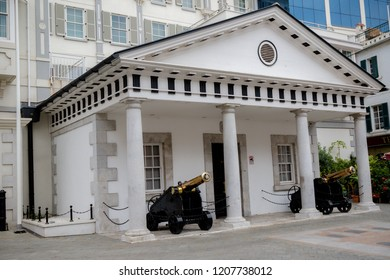 Gibraltar, United Kingdom, 30th September 2018:- 6 Convent Place, also known as number 6 is the headquarters of the Gibraltar Government. Gibraltar is a British Overseas Territory.