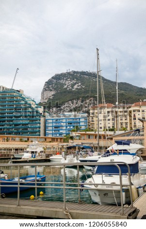 Gibraltar, United Kingdom, 30th September 2018:- Gibraltar Marina. Gibraltar is a British Overseas Territory located on the southern tip of Spain