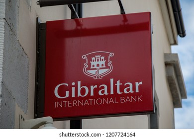 Gibraltar, United Kingdom, 3rd October 2018:- Gibraltar International Bank branch on Main Street. Gibraltar is a British Overseas Territory located on the southern tip of Spain.