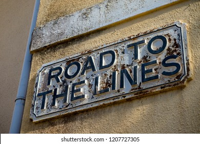 Gibraltar, United Kingdom, 3rd October 2018:- A sign for Road to the Lines on display in Gibraltar. Gibraltar is a British Overseas Territory located on the southern tip of Spain.