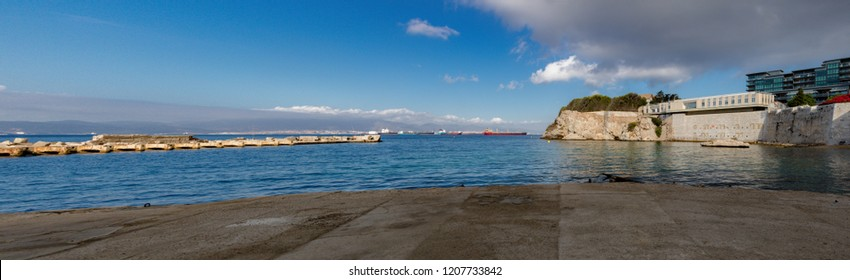 Gibraltar, United Kingdom, 3rd October 2018:- Rosia Bay, where HMS Victory brought Admiral Nelson's body after his victory at the battle of Trafalgar. Gibraltar is a British Overseas Territory.