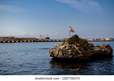 Gibraltar, United Kingdom, 3rd October 2018:- A small island in Rosia Bay, where HMS Victory brought Admiral Nelson's body after his victory at the battle of Trafalgar. Gibraltar is a British Overseas