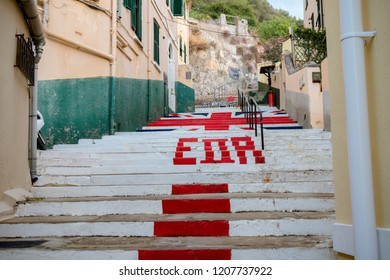 Gibraltar, United Kingdom, 3rd October 2018:- Steps painted with the British flag in Gibraltar and marked ER for Queen Elizabeth. Gibraltar is a British Overseas Territory.