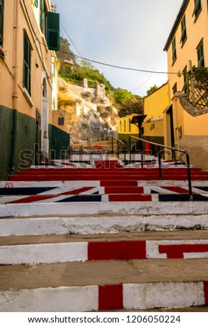 Gibraltar, United Kingdom, 3rd October 2018:- Steps painted with the British flag in Gibraltar. Gibraltar is a British Overseas Territory located on the southern tip of Spain.