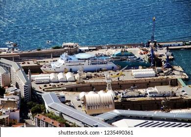 GIBRALTAR, UNITED KINGDOM - OCTOBER 11, 2018. Passengers ferry repairing inside the shipyard of the port of Gibraltar in United Kingdom.