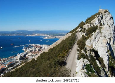 Gibraltar upper rock nature reserve top and city