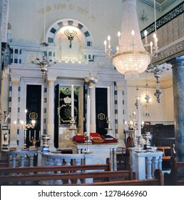 GIBRALTAR,GIBRALTAR-APRIL 14,2009: Gibraltar Flemish Synagogue 1799 Nefusot Yehuda Synagogue View Towards Ark.The synagogue reverts to  old Dutch customs and order, is also called the Dutch Synagogue