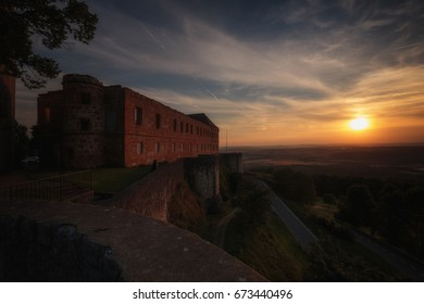 Giechburg Castle in the Bavarian Countryside. Lovely Fantasy Like medieval atmosphere at a wonderful high summer July sunset
