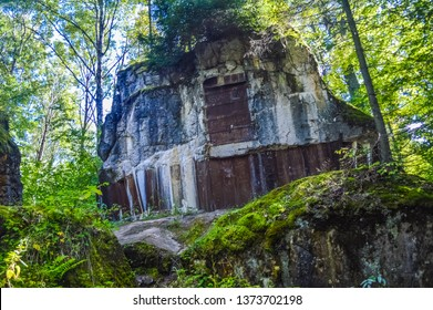GIERLOZ, POLAND, 28 AUGUST 2018: The Wolf's Lair, the bunker where Hitler hid himself