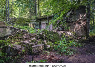 Gierloz, Poland - August 23, 2017: Ruins of bunker in so called Wolf's Lair, Hitler's bunker complex during World War II in Gierloz