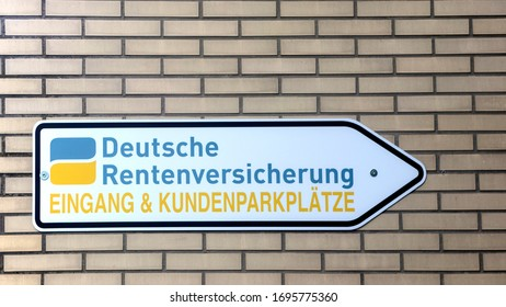 GIESSEN, GERMANY - 2019-11-20 - Signage of the Deutsche Rentenversicherung. Deutsche Rentenversicherung is German pension insurance corporation.