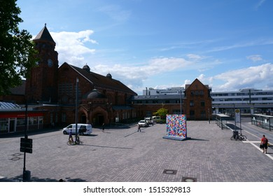 GIESSEN, GERMANY – AUGUST 13: Colorfully painted sections and segments of the Berlin Wall stand on the forecourt of Giessen main train station on August 13, 2019 in Giessen.