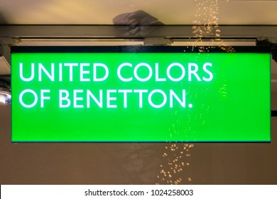GIESSEN  GERMANY DECEMBER 2017: Illuminated Logotype of UNITED COLORS OF BENETTON.  UNITED COLORS OF BENETTON is a international company saling outwear.