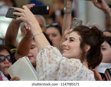 Giffoni Valle Piana, Sa, Italy - July 22, 2018 : Diana Del Bufalo at Giffoni Film Festival 2018 - on July 22, 2018 in Giffoni Valle Piana, Italy