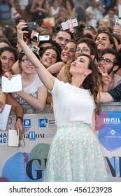 Giffoni Valle Piana, SA, ITALY - July 21, 2016: Actress Chiara Francini on blue carpet at Giffoni Film Festival 2016 - on July 21, 2016 in Giffoni Valle Piana, Italy.