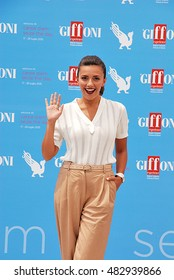 Giffoni Valle Piana, Sa, Italy - July 19, 2015:  actress Serena Rossi at Giffoni Film Festival 2015 - on July 19, 2015 in Giffoni Valle Piana, Italy