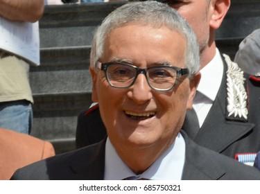 Giffoni Valle Piana, Sa, Italy - July 17, 2017 : Franco Roberti at Giffoni Film Festival 2017 - on July 17, 2017 in Giffoni Valle Piana, Italy