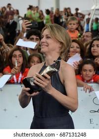 Giffoni Valle Piana, Sa, Italy - July 15, 2017 : Margherita Buy at Giffoni Film Festival 2017 - on July 15, 2017 in Giffoni Valle Piana, Italy